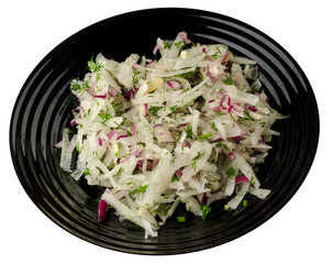 salad daikon, onions and dill  isolated on white background