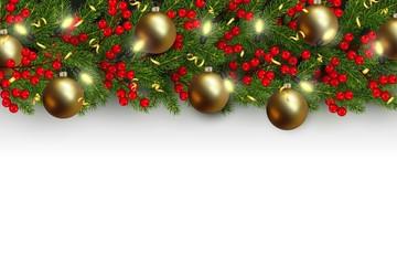 Christmas border, Christmas tree, ball, glowing lightbulbs, holly berries