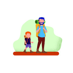 Dad And His Son Walking To Camping on Holiday Grain Noise Style Illustration