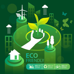 Eco green city.Save the world and environment concept.Urban landscape for green energy isometric style.Vector illustration.
