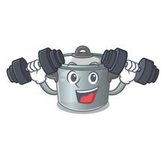 Fitness stock pot on wooden table cartoon