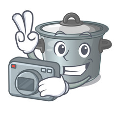 Photographer cartoon stock pot used cooking food