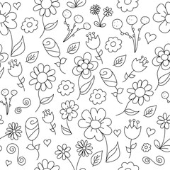 Line Drawing of SImple Floral Pattern
