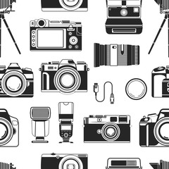 Camera photograph apparatus equipment for photographers seamless pattern vector