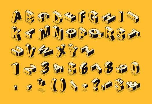 Isometric line font and halftone alphabet letters vector illustration. Abstract trend retro typography with numbers and symbols or signs in geometric 3D shape style on yellow background