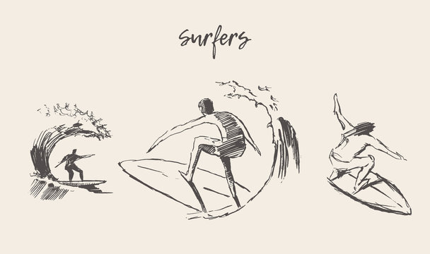Collection sketches surfers hand drawn vector surf