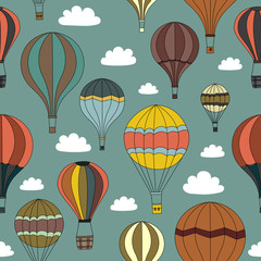 Seamless Background of Vintage Hot Air Balloons