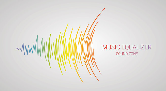 Music wave logo. Color pulse audio player