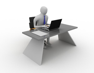 3d man working in office on laptop