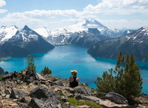 Mountain blue lake in British Columbia, Canada. Garibaldi Lake. Panorama Ridge