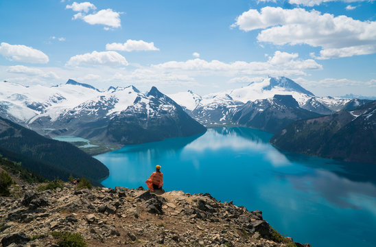 Mountain blue lake in British Columbia, Canada. Garibaldi Lake. Panorama Ridge