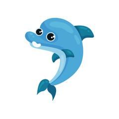 Flat vector icon of smiling blue dolphin. Marine animal with shiny eyes. Sea life theme. Element for children book or postcard