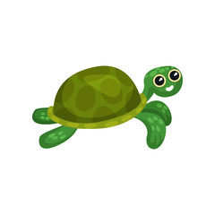 Flat vector icon of swimming green turtle. Sea animal with shell. Adorable marine reptile. Underwater life theme