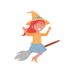 Cute smiling red haired little girl dressed as a witch flying on a broom vector Illustration on a white background