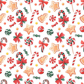 Pattern with watercolor New Year sweets.