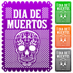 Dia de Muertos Mexican Day of the death spanish text vector poster decoration