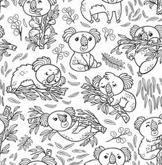 Fun koalas in the eucalyptus seamless pattern. Ink vector background in cartoon style