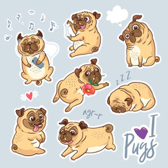 Vector set of cute pug pupies for stickers, pins and patches