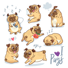 Vector set of cute pug pupies for cards, banners and posters