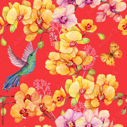 Seamless Pattern With Hummingbird Bird And Orchid Flowerswatercolor