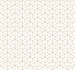 Japanese pattern vector. Gold line background.