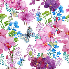 seamless pattern with butterfly and flowers, orchids.watercolor hand painting