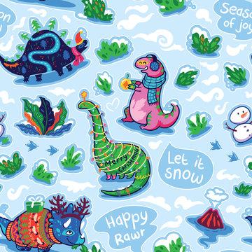 Dinosaur holidays stickers seamless pattern. Vector trendy illustration.