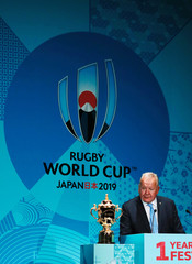 World Rugby Chairman Bill Beaumont delivers a speech during a kick-off event to mark one year to go to the Rugby World Cup 2019, in Tokyo
