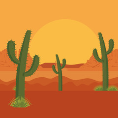 desert with cactus scene