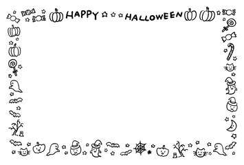 ハロウィンのフレーム 手描き 白黒