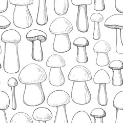 Vector  seamless pattern with hand drawn mushrooms.