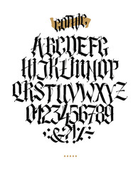 Full alphabet in the Gothic style. Vector. Letters and symbols on a white background. Calligraphy and lettering. Medieval Latin letters. Individual letters. Elegant font for tattoo. A set for inspirat