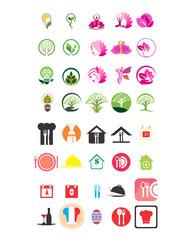 variation mixed ornament beauty plant image vector icon logo symbol set