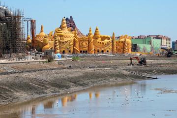 A construction site of Haichang Ocean Park is seen in Shanghai