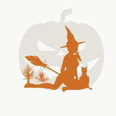 Illustration of sitting young witch. Witch silhouette with a broomstick, cat and raven. Halloween relative image. Pumpkin on backdrop