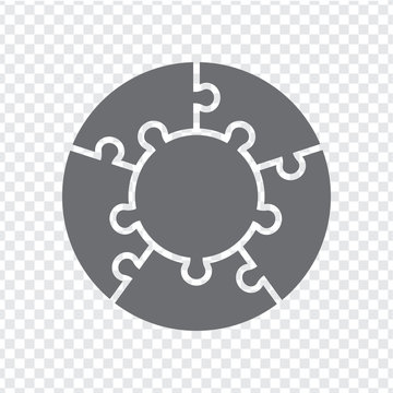 Simple icon circle puzzle in gray. Simple icon circle puzzle of the five pieces and center on transparent background. Flat design. Vector illustration EPS10.