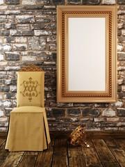 mock up poster frames vintage classic interior background
