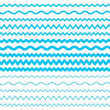 Sea Water Waves Vector Seamless Borders, Aqua Elements or Tide Lines