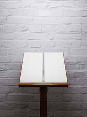 Wooden music stand. Mockup poster on brick wall background.