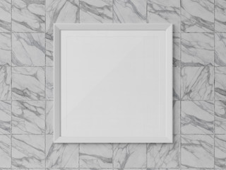 White squared frame hanging on a marble wall mockup 3D rendering