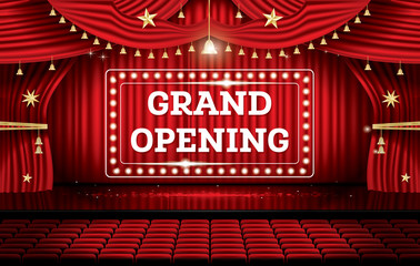Grand Opening. Open Red Curtains with Neon Lights.