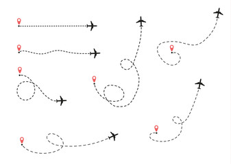 airplane is in a dotted line.