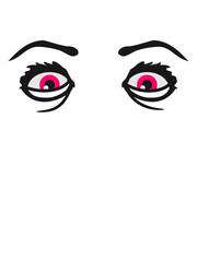 augen verrückt crazy wahnsinnig girl mädchen weiblich gesicht heiß frau weiblich design sexy lippen mund gesund comic cartoon clipart cool