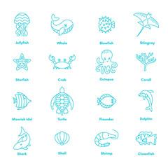 blue sea or ocean animals icon set