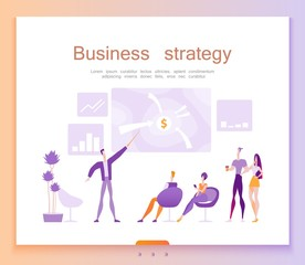 Business strategy page template, planning, financial success, profit, vector