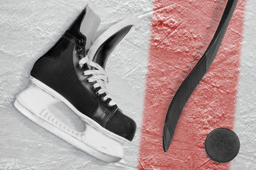 Hockey stick, skates, puck and red line