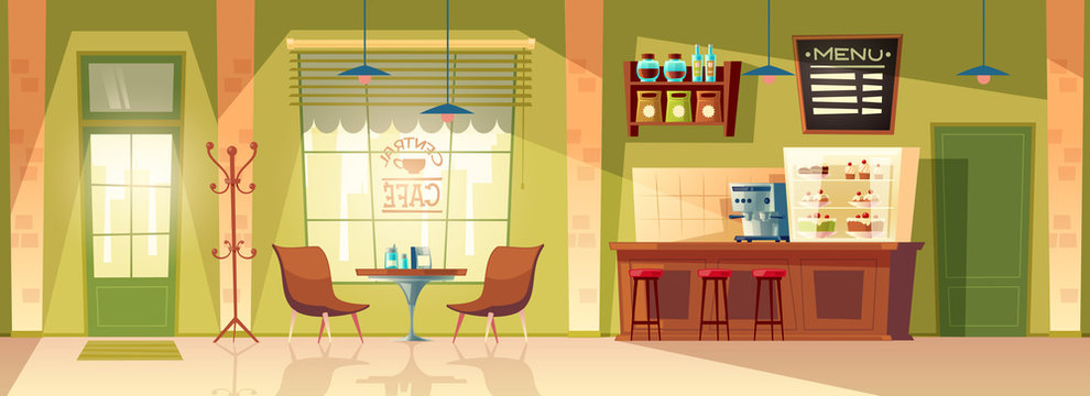 Vector cartoon cafe room - cozy interior with coffee machine, table. Wooden furniture for cafeteria interior, chair and blackboard for memu. Background with door, window and fridge.