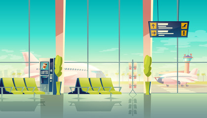 Vector airport waiting hall - big windows, seats and airplanes on the airfield. Travel concept. Empty international terminal, lounge with chairs and digital screen, departures and arrivals schedule