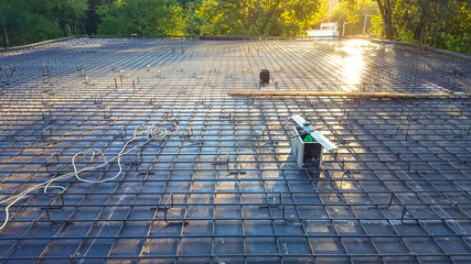 Monolithic slab. Reinforcement before pouring concrete on the construction site.
