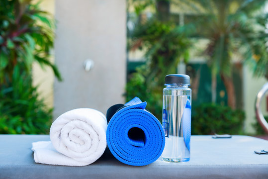 set for exercises yoga water rug towel morning